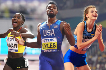 Halimah Nakaayi, Noah Lyles and Yaroslava Mahuchikh at the IAAF World Athletics Championships Doha 2019 (Getty Images)