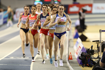 Laura Muir on her way to winning the 1500m at the European Indoor Championships in Glasgow (Getty Images)