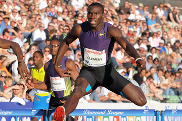 Kerron Clement in the 400m hurdles at the IAAF Diamond League meeting in Oslo (Mark Shearman)