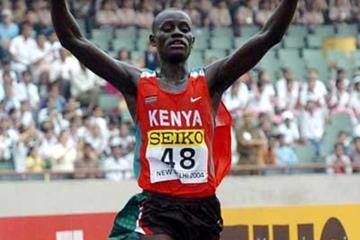 Paul Kirui crosses the finish line (Prakash Singh (AFP) for IAAF)