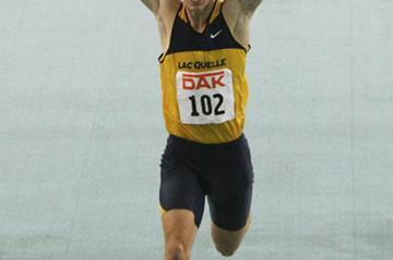 19-year-old Christian Blum bolts to a 6.59 PB to claim the German indoor title (Bongarts)