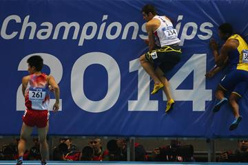 Athletes in action in the 60m at the 2014 IAAF World Indoor Championships in Sopot (Getty Images)