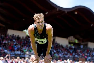 Kevin Mayer in action at the Combined Events Challenge meeting in Talence (AFP / Getty Images)
