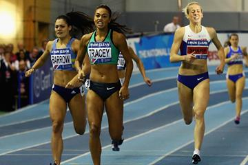 Adelle Tracey wins the 800m at the 2016 British indoor championships  (Getty Images)
