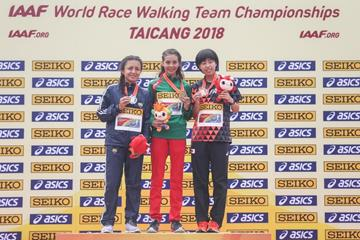 The U20 women's medallists at the IAAF World Race Walking Team Championships Taicang 2018 (Getty Images)
