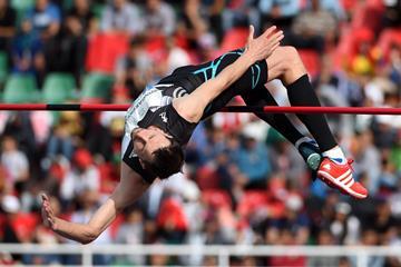 Bogdan Bondarenko in the high jump at the IAAF Diamond League meeting in Rabat (Kirby Lee)