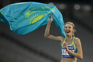 Olga Rypakova celebrates winning the 2014 Asian Games triple jump title (Getty Images)