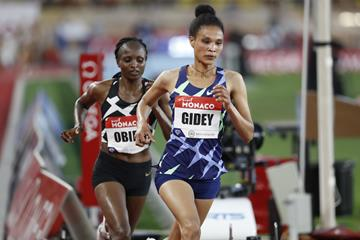 Letesenbet Gidey and Hellen Obiri in action at the Diamond League meeting in Monaco (Getty Images)