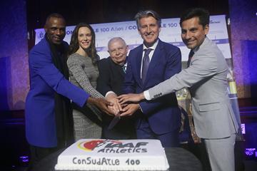Robson Da Silva, Fabiana Murer, Roberto Gesta De Melo, Sebastian Coe and Jefferson Perez at ConSudAtle's centenary (IAAF)