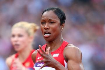 Carmelita Jeter of the United States competes in the Women's 100m Round 1 Heats on Day 7 of the London 2012 Olympic Games at Olympic Stadium on August 3, 2012 (Getty Images)