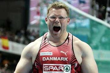 Joachim Olsen roars away his winning effort in the men's Shot Put - Madrid (Getty Images)