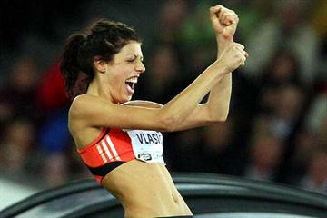 Blanka Vlasic jubilant with 2.04m in Zürich (Getty Images)
