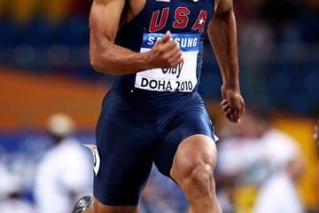 Olympic decathlon champion Bryan Clay competes in the 60m during the men's heptathlon in Doha (Getty Images)