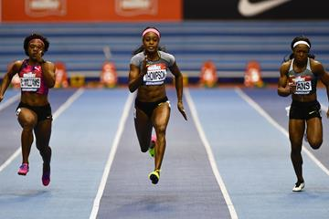 Elaine Thompson en route to her 6.98 win in Birmingham (Getty Images)