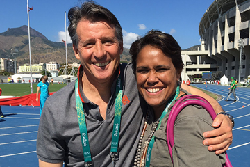 IAAF President Sebastian Coe with Catherine Freeman in Rio (IAAF)