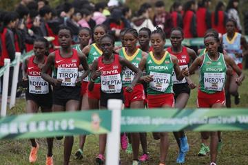 Agnes Tirop and Irene Cheptai lead the senior women's race at IAAF World Cross Country Championships, Guiyang 2015 (Getty Images)