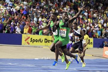 Tyreke Wilson, winner of the class-3 100m at the Boys and Girls Championships in Jamaica (Jean-Pierre Durand)