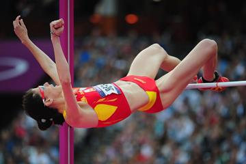 Ruth Beitia of Spain competes during the Women's High Jump Final of the London 2012 Olympic Games on August 11, 2012 (Getty Images)