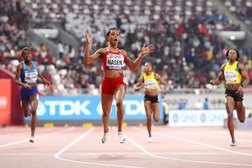 Salwa Eid Naser's surprised too! 48.14 championship record to win the 400m title in Doha (Getty Images)