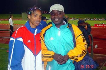 Cuban-born female triple jumper Yamile Aldama and her coach Frank Attoh (Mark Ouma)
