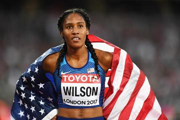 Ajee' Wilson after winning the bronze medal over 800m at the IAAF World Championships London 2017 (Getty)