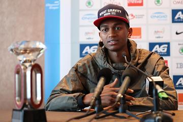 Mutaz Essa Barshim at the press conference ahead of the IAAF Diamond League final in Brussels (Giancarlo Colombo)