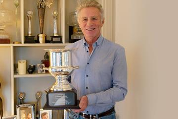 Eamonn Coghlan with one of his Wanamaker Mile trophies (Eamonn Coghlan)