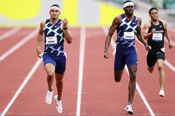 Michael Norman and Rai Benjamin in the 400m at the USATF Grand Prix in Eugene (Getty Images)