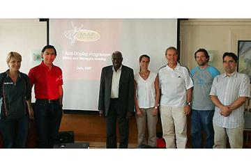 Dr. Alonso (left of screen) and President Diack (right of screen) with some of those attending the Anti-Doping Programme meeting with managers and athletes in Oslo (Getty Images)