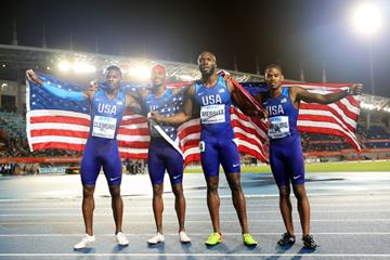 The victorious men's 4x400m squad at the IAAF/BTC World Relays Bahamas 2017 (Getty Images)