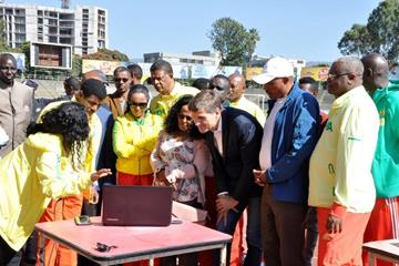 Kidist Tadesse of the Ethiopian Athletics Federation and IAAF Health & Science Department Director Stéphane Bermon discuss some of the data that will be collected by the air quality monitoring device at Addis Ababa stadium (Ethiopian Athletics Federation)