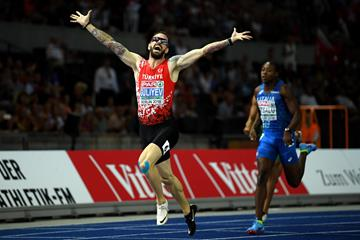 Ramil Guliyev after his 19.76 championships record to take the European 200m title in Berlin (Getty Images)