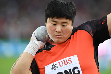 Gong Lijiao, winner of the shot put at the IAAF Diamond League final in Zurich (Jiro Mochizuki)