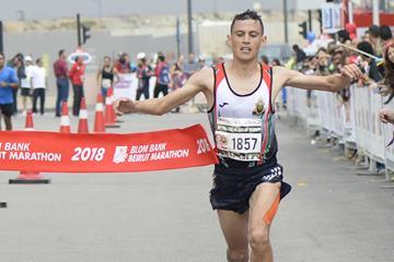 Mohamed Reda El Aaraby winning the Beirut Marathon (Organisers)