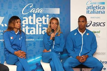 Yadisleidy Pedroso, Margherita Magnani and Kevin Ojiaku at the Italian pre-champs press conference in London (FIDAL Colombo/FIDAL)