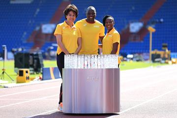 Africas team captain Nezha Bidouane, Julius Yego and Marie Jose Ta Lou in Ostrava (Getty Images)