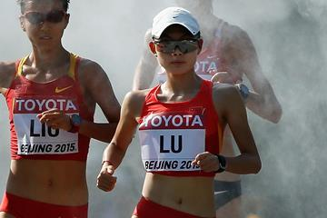 Lu Xiuzhi in the 20km race walk at the IAAF World Championships, Beijing 2015 (Getty Images)