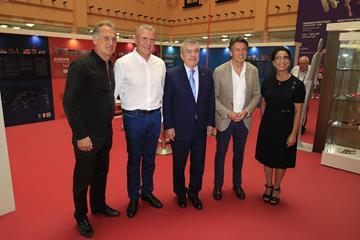 Robert Emmiyan, Sergey Bubka, Thomas Bach, Seb Coe and Nawal Moutawakel at the Heritage Exhibition (Getty Images)