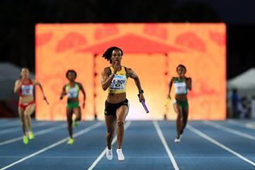 Anastasia Le-Roy anchors Jamaica to victory in their 4x200m heat at the IAAF/BTC World Relays Bahamas 2017 (Getty Images)