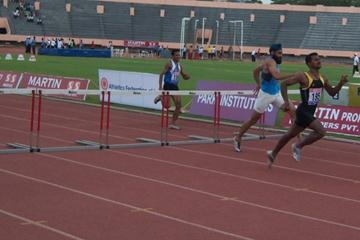 Joseph Abraham leading the pack at 400m Hurdles (at Coimbatore) (Ram. Murali Krishnan)