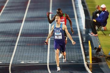 Clayton Murphy of the United States crosses the line ahead of Kenya's Ferguson Rotich in the men's 4x800m at the IAAF/BTC World Relays Bahamas 2017  (Getty Images)