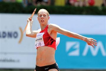 Tatyana Chernova en route to a big personal best of 6773 in Kladno (Jan Kucharčík - atletika.cz)
