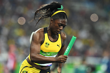Christania Williams leads off Jamaica's 4x100m team at the Rio 2016 Olympic Games (AFP / Getty Images)