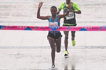 Fatuma Sado wins the 2018 Xiamen Marathon, her second victory at the race (Xiamen organisers)