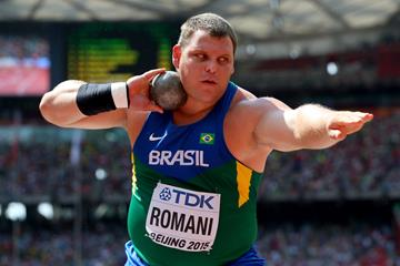 Darlan Romani in the shot put at the IAAF World Championships Beijing 2015 (Getty Images)