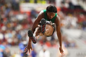 Ese Brume jumping to bronze in Doha (Getty Images)