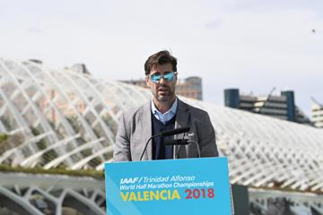 Raul Chapado, president of RFEA, at the IAAF/LOC Press Conference in Valencia (Jiro Mochizuki)