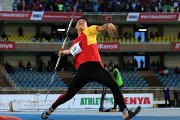 Liu Zhekai in the javelin at the IAAF World U18 Championships Nairobi 2017 (Getty Images)