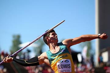 Nash Lowis of Australia releases his winning throw in the javelin at the IAAF World U20 Championships Tampere 2018 (Getty Images)
