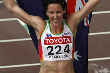 Jana Rawlison of Australia celebrates her gold medal in the Women's 400m Hurdles Final (Getty Images)